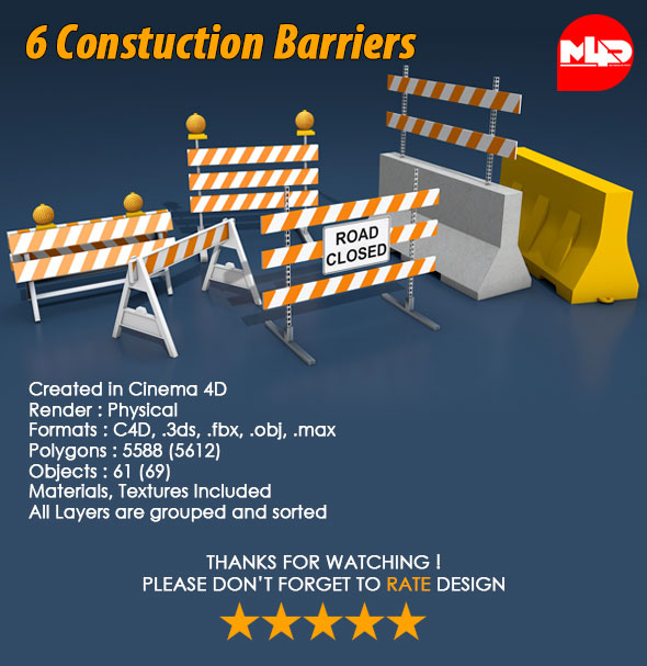 3DOcean 6 Construction Barrier 21049498
