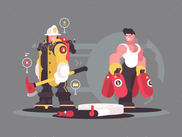 GraphicRiver Team Firefighters Characters 21049516
