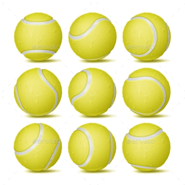 Realistic Tennis Ball Set Vector. Classic Round - Sports/Activity Conceptual