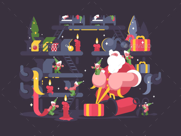 Santa Claus and Elves Pack Gifts - People Characters