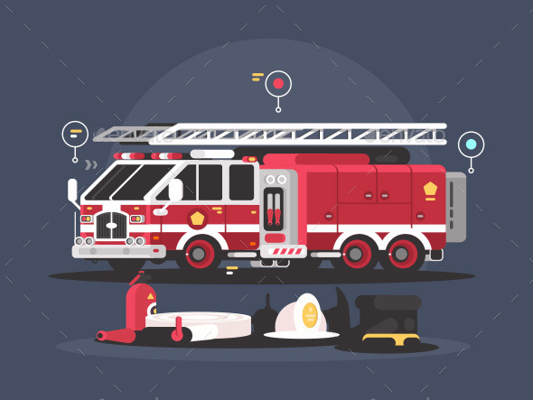 Fire Truck and Equipment for Fire Extinguishing - Objects Vectors
