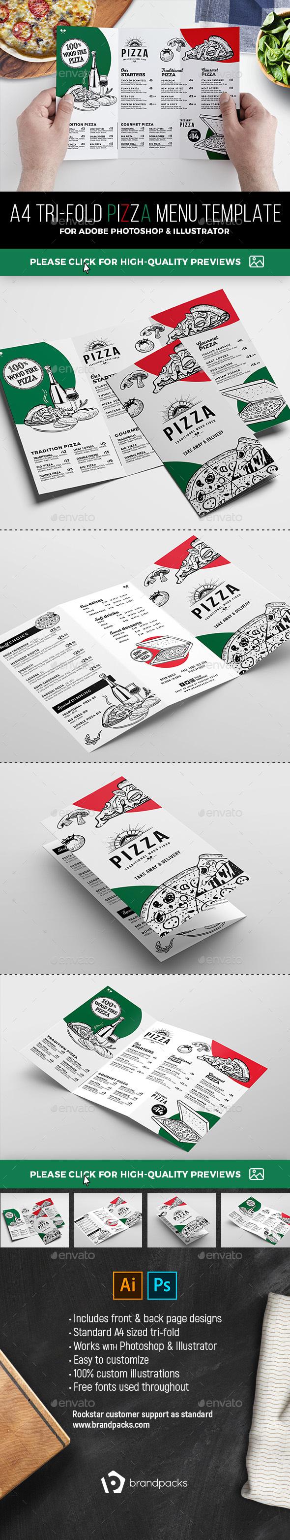 Tri-Fold Pizza Menu Template - Food Menus Print Templates