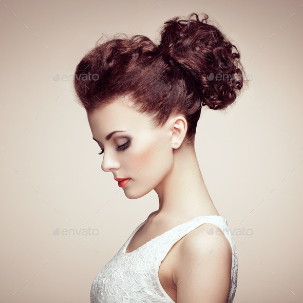 Portrait of beautiful sensual woman with elegant hairstyle.  Per - Stock Photo - Images