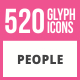 520 People Glyph Icons