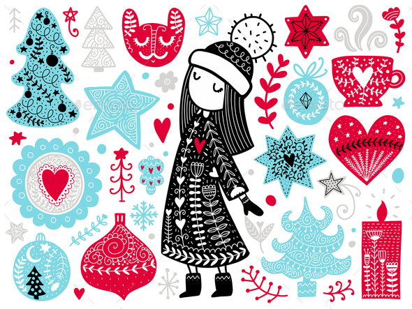 GraphicRiver Scandinavian Christmas Illustration 21049830
