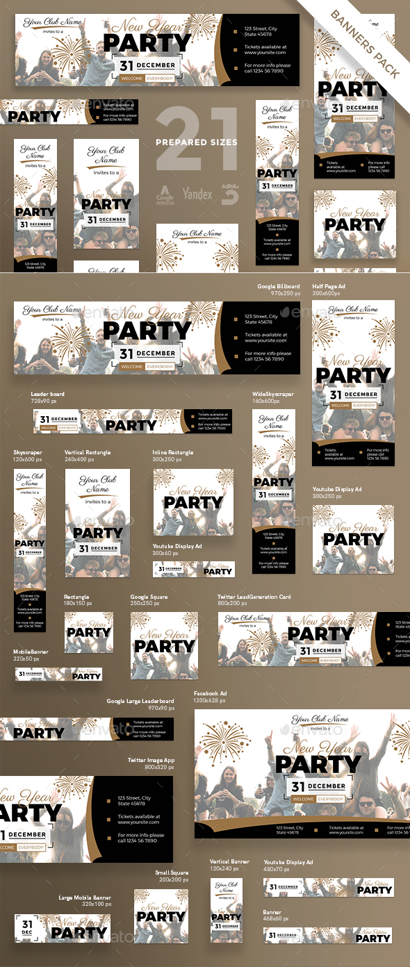 New Year Party Banner Pack - Banners & Ads Web Elements