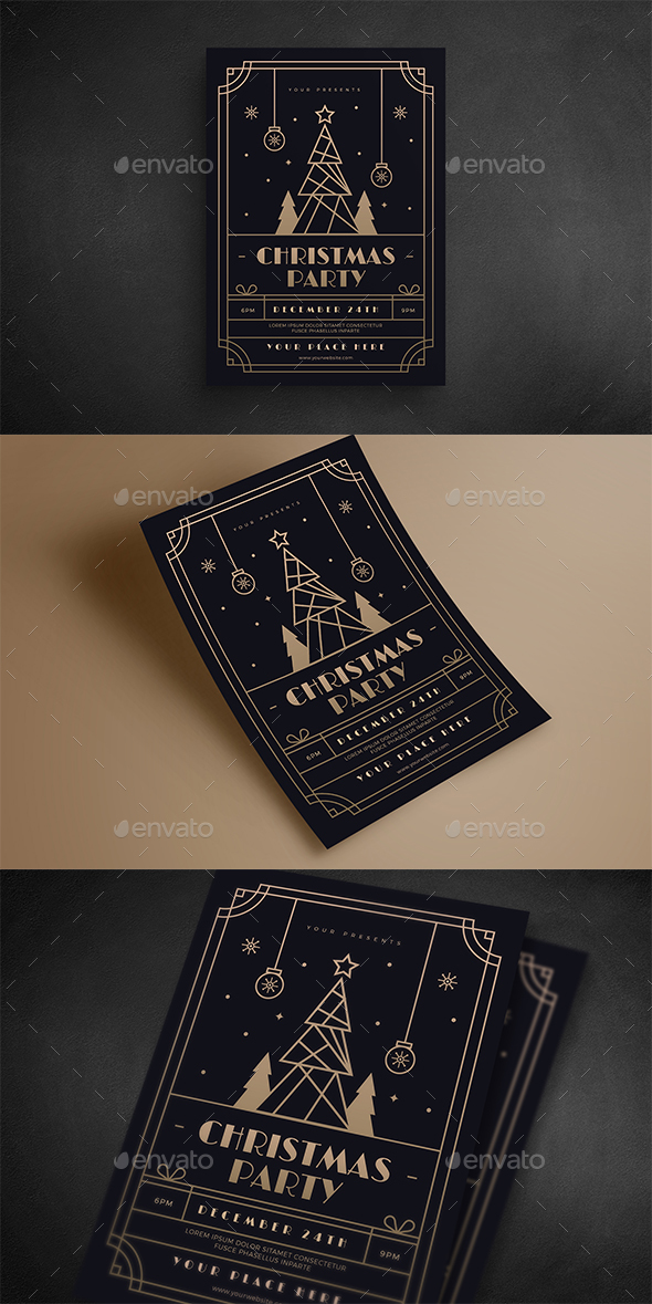 GraphicRiver Christmas Gold Deco Event Flyer 21050069