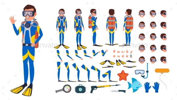 Diver Man Vector - People Characters
