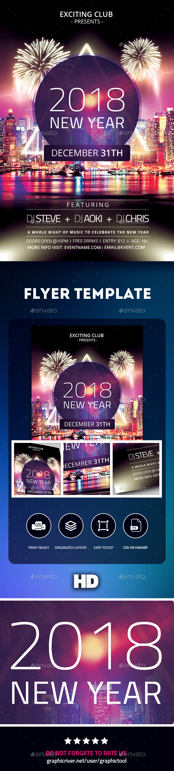 GraphicRiver 2018 New Year Flyer 21050082