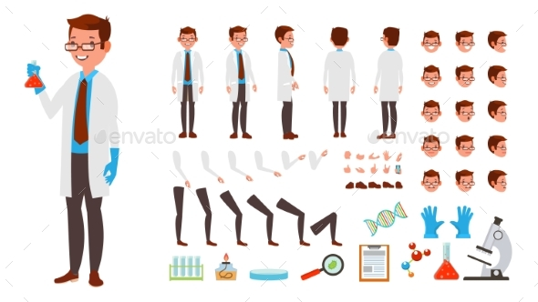 Scientist Man Vector Animated Character Creation - People Characters