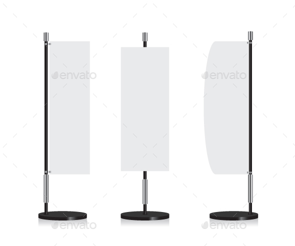Banner Flag Illustration on White Background - Man-made Objects Objects