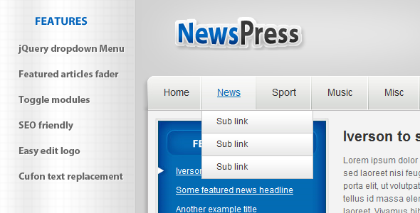 NewsPress - HTML - Entertainment Site Templates