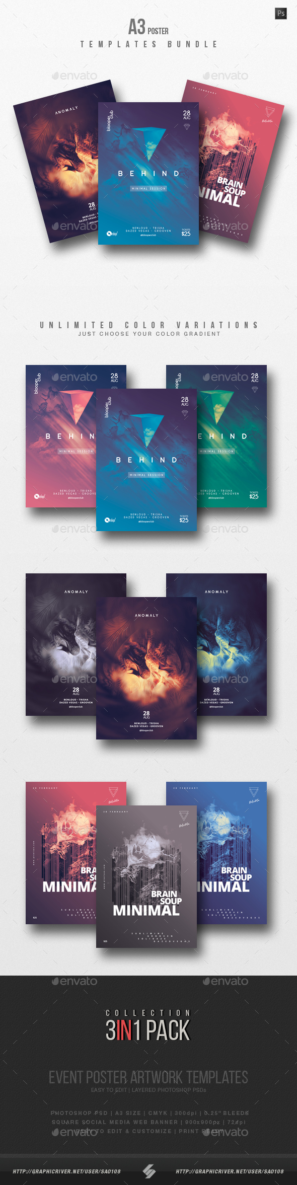 Minimal Sound vol.7 - Party Flyer / Poster Templates Bundle - Clubs & Parties Events