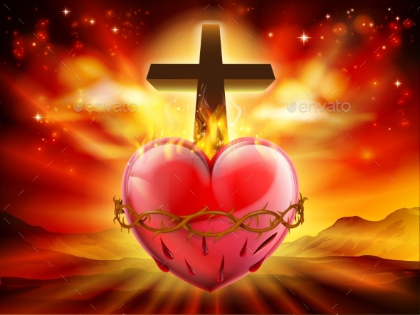 GraphicRiver Sacred Heart Christian Illustration 21050453