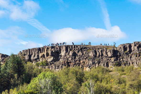 people at Observation Deck in Thingvellir park - Stock Photo - Images