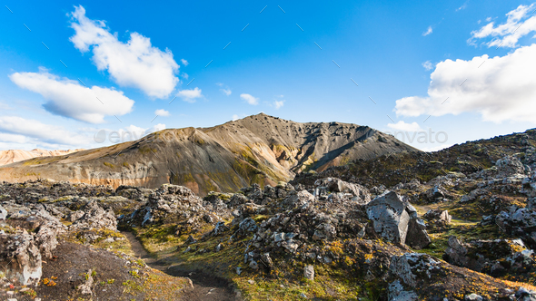volcanic mount and at Laugahraun lava field - Stock Photo - Images
