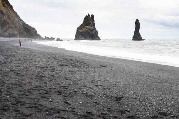 Reynisfjara Beach with Reynisdrangar stacks - Stock Photo - Images