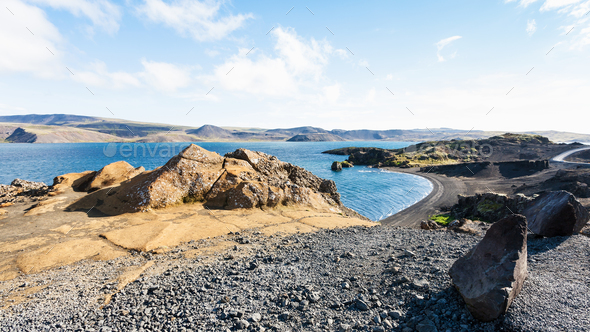 volcanic beach of Kleifarvatn lake in Iceland - Stock Photo - Images
