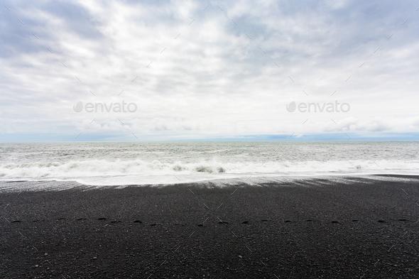ocean surf on Reynisfjara black Beach in Iceland - Stock Photo - Images