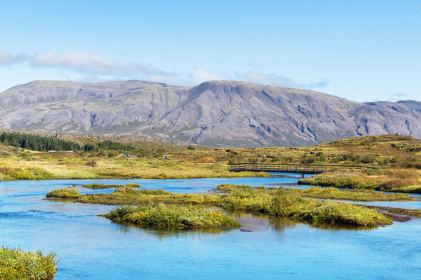 valley of Oxara river in Thingvellir national park - Stock Photo - Images