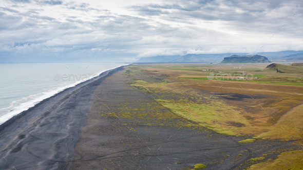 view of Solheimafjara seaside from Dyrholaey cape - Stock Photo - Images