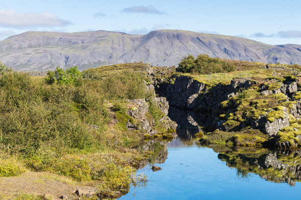 view of Silfra gorge in valley of Thingvellir - Stock Photo - Images