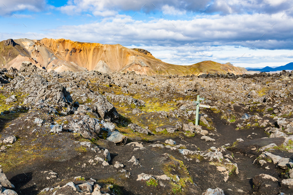 mark at Laugahraun volcanic lava field in Iceland - Stock Photo - Images