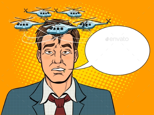 Drunk Man with Helicopters Pop Art Vector - Miscellaneous Vectors