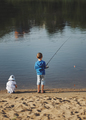 boy and girl with rod on coast of river - PhotoDune Item for Sale