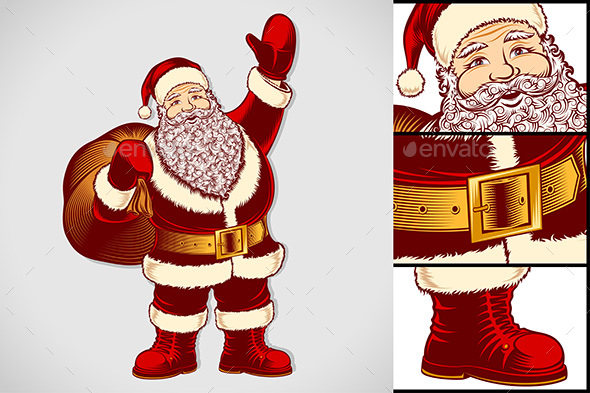Santa Claus Cartoon Character Vintage Ink Drawing Pop Art Color - Christmas Seasons/Holidays