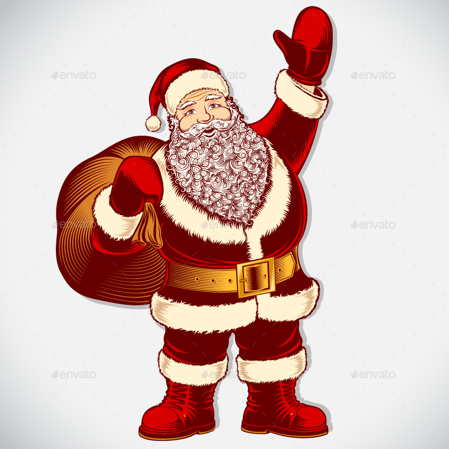Santa Claus Cartoon Character Vintage Ink Drawing Pop Art