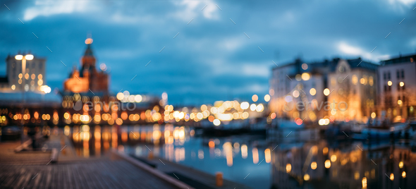 Helsinki, Finland. Abstract Blurred Bokeh Urban Panoramic Backgr - Stock Photo - Images