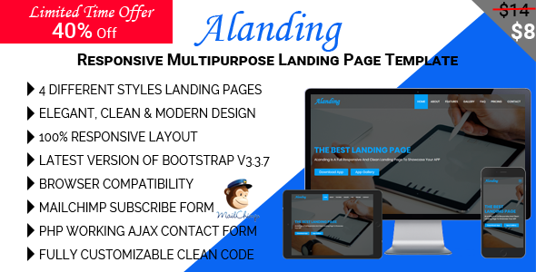 Download ALanding - Responsive Multipurpose Landing Page Template            nulled nulled version