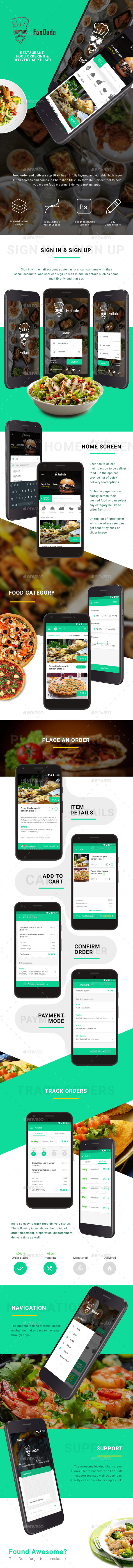 Food Ordering & Delivery App UI Set | FooDude - User Interfaces Web Elements