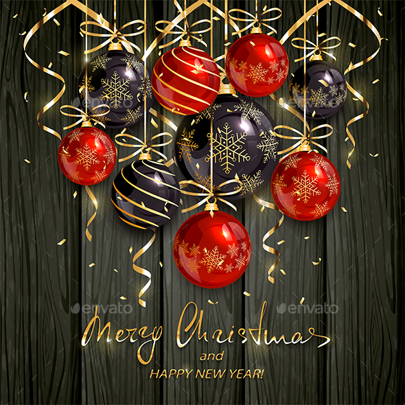 Red and Black Christmas Balls and Golden Streamers on Black Wooden Background - Christmas Seasons/Holidays