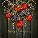 Red and Black Christmas Balls and Golden Streamers on Black Wooden Background