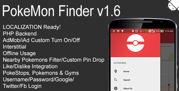 PokeMon Finder Full Android Application v1.6 - CodeCanyon Item for Sale