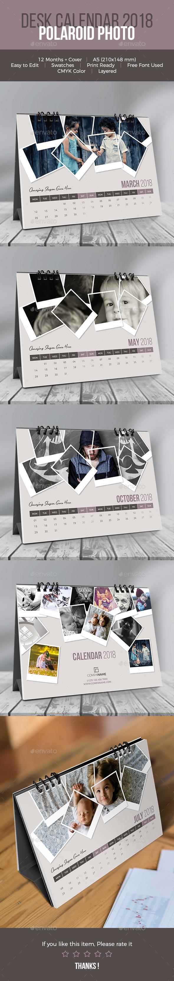 Desk Calendar 2018. Polaroid Photo - Calendars Stationery