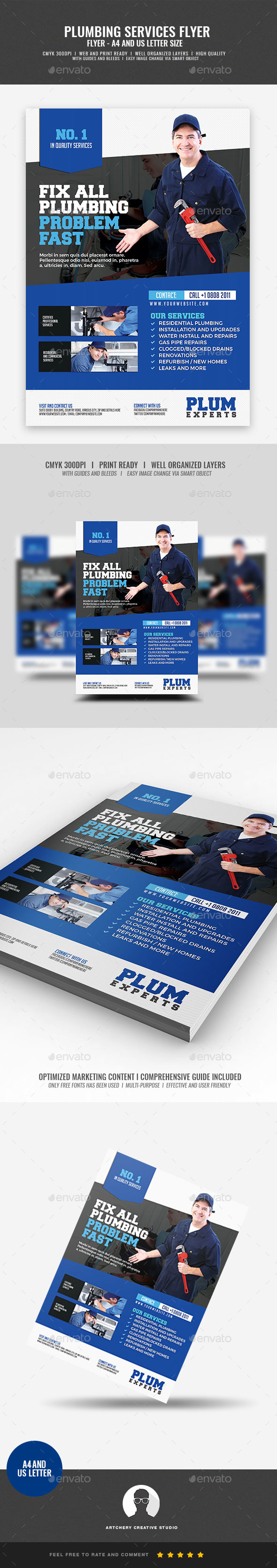GraphicRiver Plumber Services Flyer 21033344