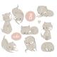 Set with Cartoon Kittens