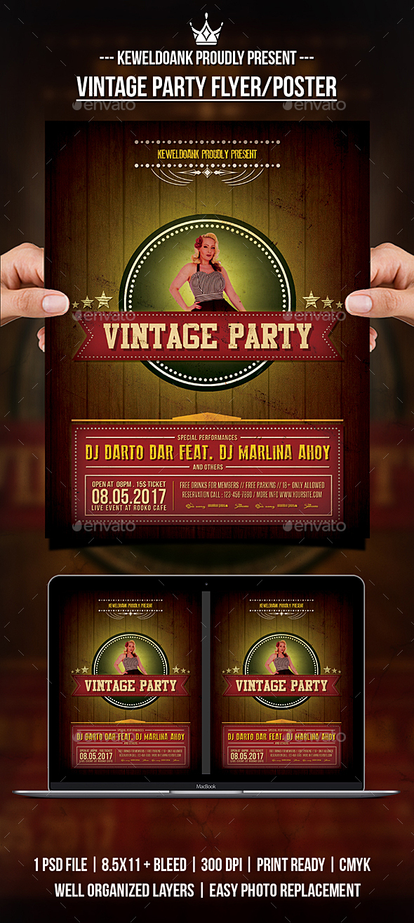 Vintage Party Flyer / Poster - Clubs & Parties Events
