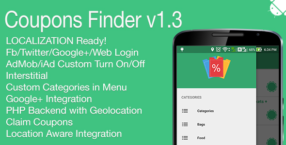 Coupons Finder Full Android Application v1.3 - CodeCanyon Item for Sale