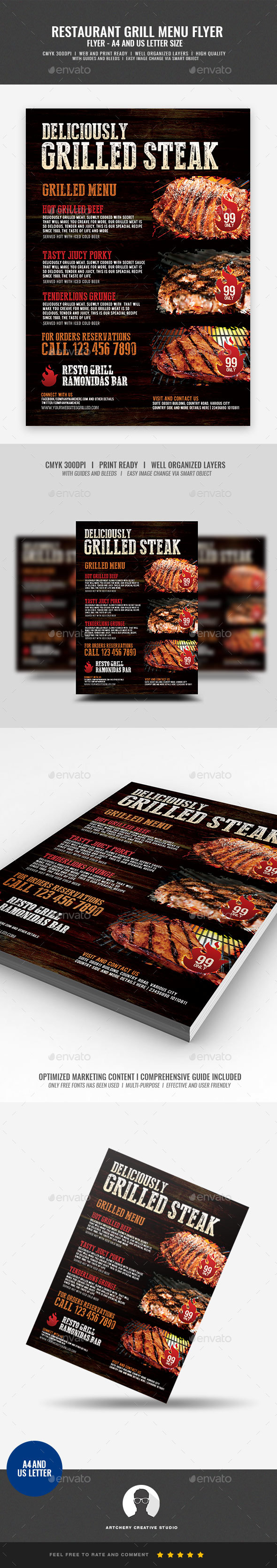 GraphicRiver Grill Restaurant Food Flyer 21033244