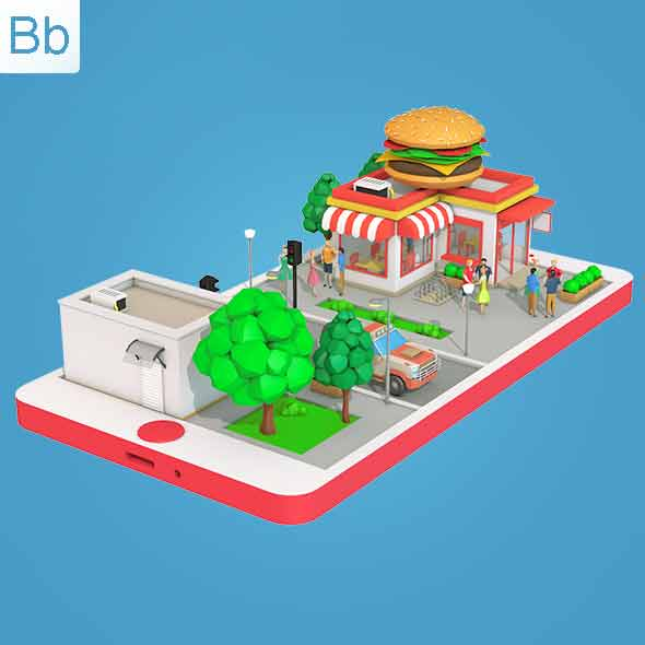 Low Poly Burger Cafe on Phone screen - 3DOcean Item for Sale