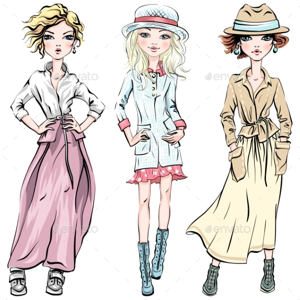 Vector Set of Fashionable Girls - People Characters