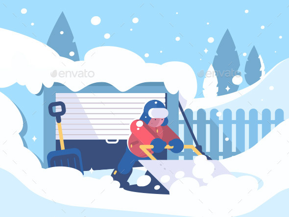 Guy Cleans Snow After Snowfall - People Characters