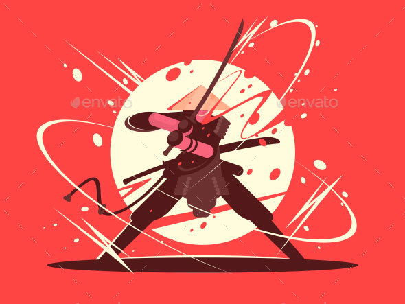 GraphicRiver Japanese Battle Samurai with Katana 21051611