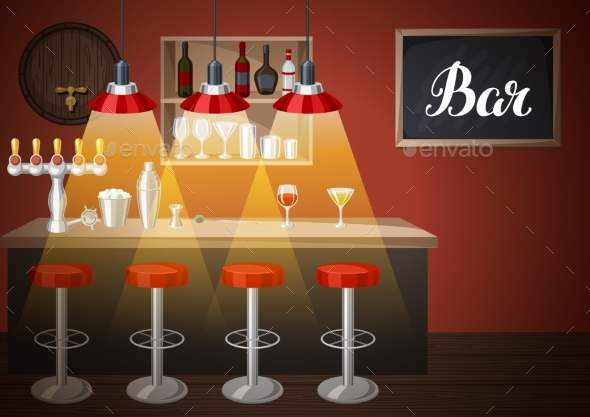 Bar Counter in Pub or Night Club - Industries Business