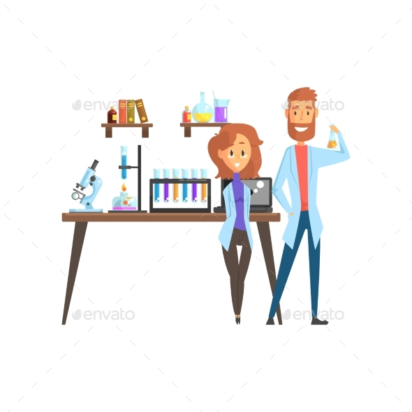 GraphicRiver Flat Vector of Scientists 21051906
