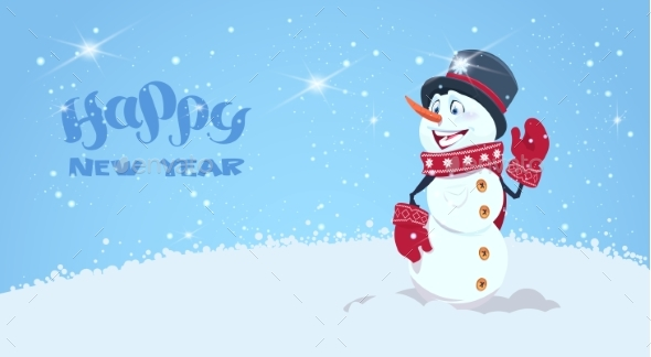 GraphicRiver Happy New Year Greeting Card With Snowman 21052014